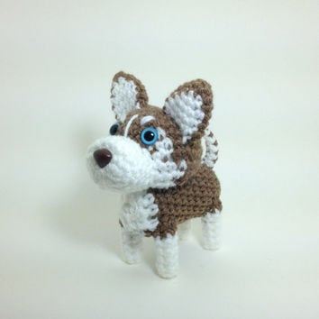Husky Stuffed Dog Amigurumi Crochet Puppy Animal Plush Red / Made to Order