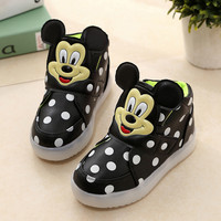 Children single boots baby toddler girls lights LED fashion sports casual mickey flat shoes chaussure led enfant ninas