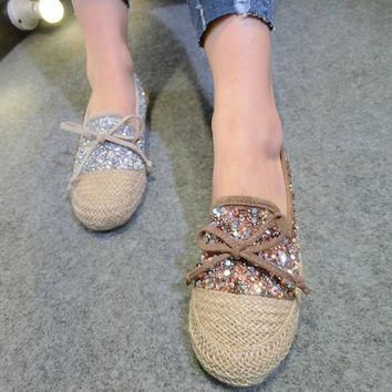 New fashion women flats breathable hemp bling bling glitter loafer shoes
