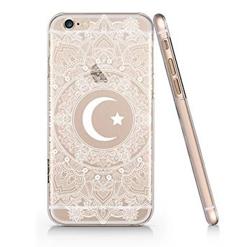 Crescent Moon Mandala Background Merry Christmas Clear Transparent Plastic Phone case For iphone 6 6s_SUPERTRAMPshop