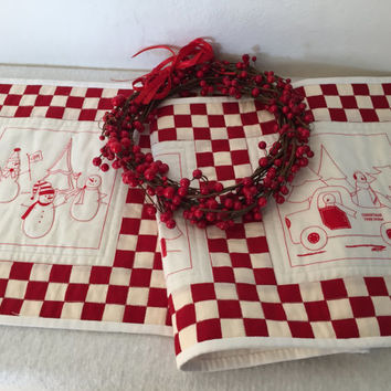 Christmas Table Runner, Quilted Snowpeople Tablerunner, $25
