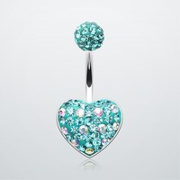 Adorable Polka Dot Tiffany Inspired Heart Belly Button Ring