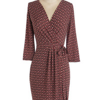 ModCloth Mid-length Long Sleeve Wrap Perfect Pour Dress
