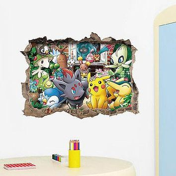 Pokemon Go Wall Sticker 3D Art Vinyl Decal Sticker Kids Nursery Room Decor Cartoon Wallpaper