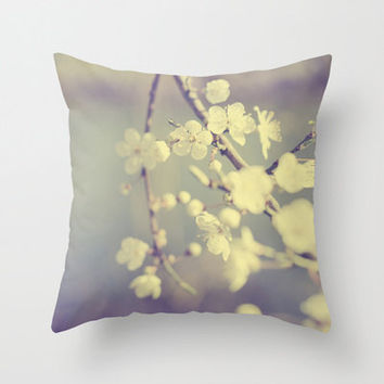Floral Pillow Cover, Minimal, Pastel, Cherry Blossom Photo, White, Blue and Grey, Dreamy Home Decor, Bridal Gift, Spring Decor, Neutral