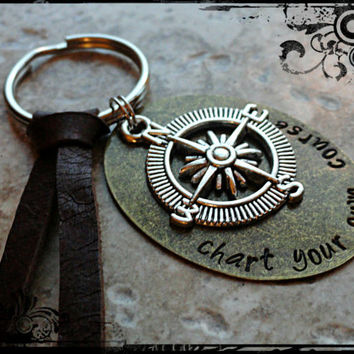Chart Your Own Course Brass Disc Compass Charm Hand Stamped Key Chain Key Fob Key Ring