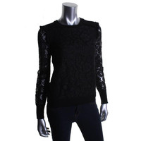Tory Burch Womens Lace Wool Panel Pullover Top