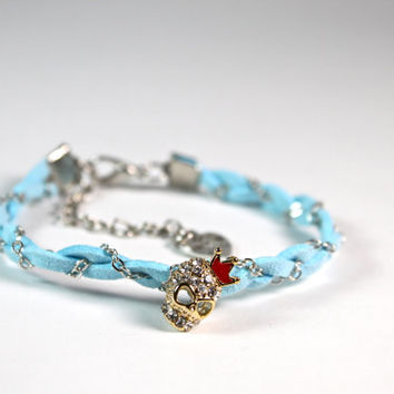 Handmade Weaved Young Girl's Bracelet with Sparkling Skull. Weaved Woven Bracelet. Bride mate's Bracelet. Everyday Bracelet for teenage girl