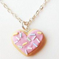 Heart Sprinkle Cookie Necklace