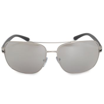 Bvlgari Aviator Sunglasses BV5038 400 6G 63 | Matte Silver Metal Frame | Light Gray Mirror Lenses