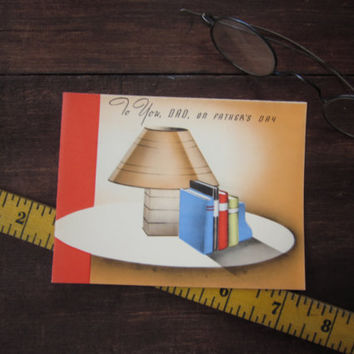 Vintage Unused Father's Day Greeting Card To You, Dad on Father's Day with Books and Retro Lamp Rust Craft Boston, USA