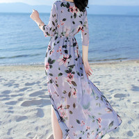 Women Dress Floral Print Work Business Casual Party Vestidos Free Shipping Long Maxi Dresses 187