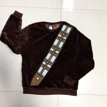 Star Wars I Am Chewie Chewbacca Furry Polyester Brown Costume Hoodie Cosplay  Free shipping