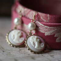 pink victorian cameo earrings - $9.99 : ShopRuche.com, Vintage Inspired Clothing, Affordable Clothes, Eco friendly Fashion