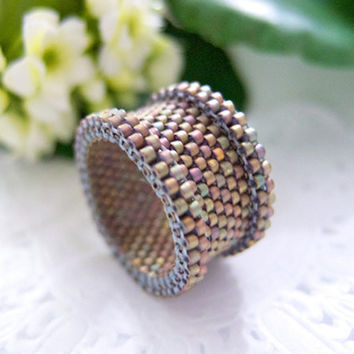 Stone Colored Beaded Ring in Barrel Style Earthy by JeannieRichard