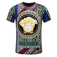Versace Summer Fashion Personality Print Loose Comfort Round Neck Short Sleeve T-Shirt
