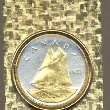 Gorgeous 2-Toned Gold on Silver Canadian Bluenose Sail boat,   Coin - Money clips