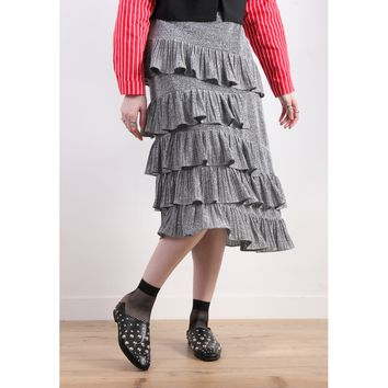 Korean Asymmetric Ruffle Layer Metallic Skirt