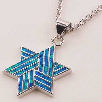 Blue Fire Opal 925 Sterling Silver Magen David Star Necklace