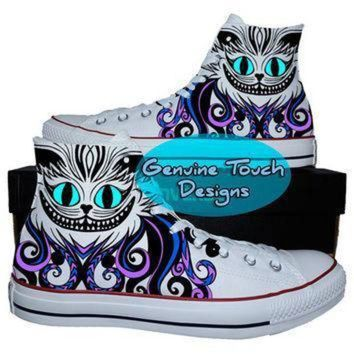 DCCK1IN hand painted converse hi sneakers cheshire cat fanart cat shoes custom handpainted