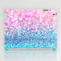 Pastel sparkle- photograph of pink and turquoise glitter iPad Case by Sylvia Cook Photography