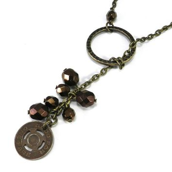 Token Lariat Necklace - Bronze Beads with Conestoga Transit Token