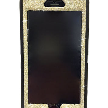 iPhone 6 Plus OtterBox Defender Series Case Glitter Cute Sparkly Bling Defender Series Custom Case  black/white gold