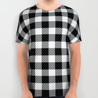 Sleepy Black and White Plaid All Over Print Shirt by RichCaspian