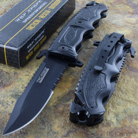 Tac-Force Spring Assisted Glass Breaker Open Folding Black Rescue Pocket Knife