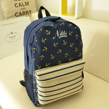 Back To School Hot Deal Stylish Casual On Sale College Comfort Navy Stripes Korean Backpack [6582162439]