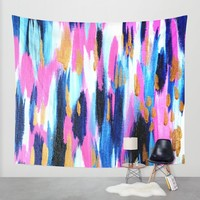 Spring Golden - Pink and Navy Abstract Wall Tapestry by Allyson Johnson | Society6