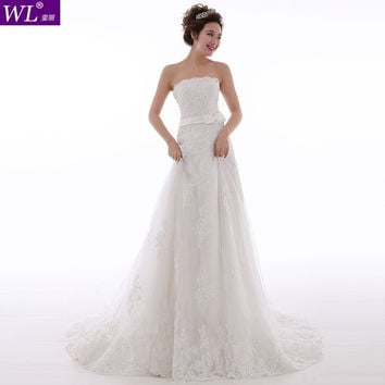 Beautiful lace beaded mermaid wedding dress new 2015 swing BOW LACE wedding bride gown