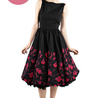Retro Vintage Style Red Floral Skirted Dress