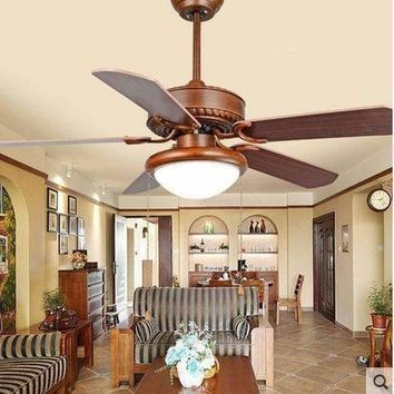 Continental antique restaurant fan light fan chandelier living room chandelier fan glass cover lamp LED fan chandelier 42inch