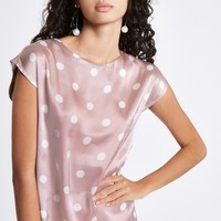 Pink satin spot pleated back top - Blouses - Tops - women