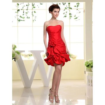 New Arrival  2016 Real Evening Party Gowns Custom Taffeta Flowers Simple Bright Mini Vestido Festa Curto Cocktail Dresses