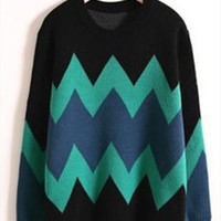 A 080105 Retro hit color loose sweater from cassie2013