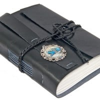 Black Faux Leather Journal with Auto Cameo Bookmark  - Ready To Ship