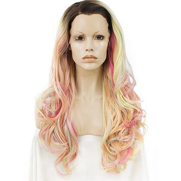 Long Pastel Multicolor Pink Blonde Mixed Wave Synthetic Lace Front Wig