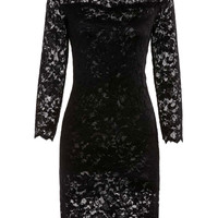 Solid Color 3/4 Sleeve Lace Round Neck Dress