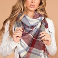 Katia Blue Plaid Blanket Scarf