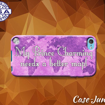 My Prince Charming Needs A Better Map Quote Pink Tumblr Cute Custom Case For iPod Tough 4th Generation Gen And iPod Touch 5th Generation Gen