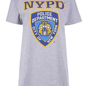 Alicia NYPD Sleep Tee | Boohoo