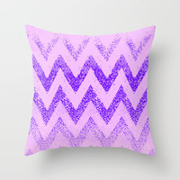 disappearing purple chevron Throw Pillow by Marianna Tankelevich