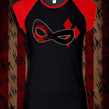 "HARLEY QUINN - ""Psychotic Mask"" - Ladies Graphic Shirt"