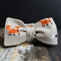 Bow Tie for Men by BartekDesign: self tie beige fox triangle animal hipster fun informal gift for him wedding