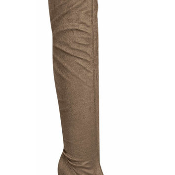 Beverly Over the Knee Suede Boots - Taupe