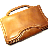 Womens Brown Leather Handbag, Small Briefcase Laptop, Tablet Case, Vintage 1980s Anne Klein