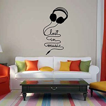 Lost in the Music Headphones Vinyl Wall Words Decal Sticker Graphic