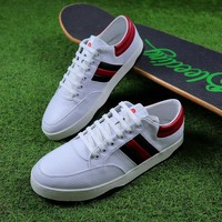 Best Online Sale Gucci Leather Non Reptile White Red Shoes Sneaker #1